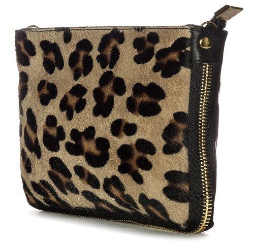 Big borsa Shop piccolo in vera pelle uomo pelliccia Con cerniera frizione borsa a tracolla (nero)