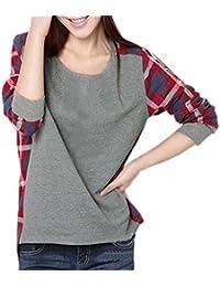 Femmes Mode coutures à carreaux lâche T-shirt col Rond Manches Longues