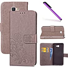 Galaxy J7 Prime Wallet Case Galaxy J7 Prime Flip Case Galaxy J7 Prime Case PU Leather COTDINFOR Galaxy J7 Prime Case Bookstyle Pu Leather Flip Wallet Magnetic Strap Stand Case for Samsung Galaxy J7 2017 Galaxy J7 Prime Case for Girls Elegant Retro Pure Lucky Clover Design Shockproof Slim Case Cover With Card Holder for Samsung Galaxy J7 Prime Clover Gray SD