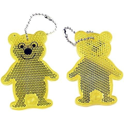Salzmann simpatico orso riflettente accessorio acrilico, bambini riflettore di sicurezza, necessario per camminare dei bambini, la patria di accessorio di sicurezza della scuola. D'oro, 2 pezzi