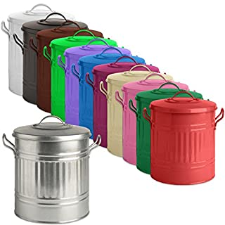 Tigerbox Galvanized 15L Metal Feed Bin with Lid & 150ml Scoop Ideal for Small Animal/Horse/Pet/Bird Seed/Food. Includes Antibacterial Pen.
