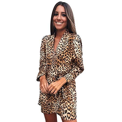 Vestidos De Fiesta Mujer Premium Vestido Irregular con Estampado De Leopardo De Moda De Manga Larga para Mujer Caqui Large