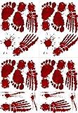 Tuopuda 8 Hojas Halloween Pegatinas Halloween Decoracion Bloody Footprints Halloween Pegatinas para Ventana Pegatinas para Pared (Rojo)