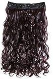 PRETTYSHOP 70cm oder 55cm Clip In Extensions Halbperücke Haarverlängerung Haarverdichtung Haarteil hitzebeständig wie Echthaar div. Farben (weinrot #99j C67-1)