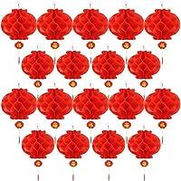 20 Piezas 10 Pulgadas de Farol de Papel Rojo de Año Nuevo Chino Decoraciones de Farolillo Colgante Chino