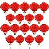 Bememo 20 Pezzi Capodanno Cinese Lanterne di Carta Rosso Crittografia Addensata Decorazioni di Lanterna Cinese Appendere (10 Pollici)