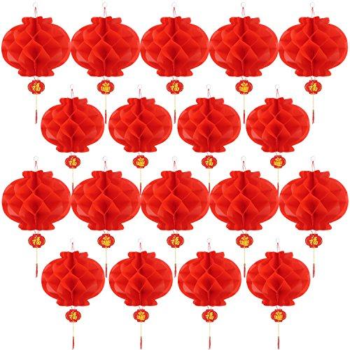 (20 Stücke 10 Zoll Chinesisch Neujahr Rot Papierlaternen Chinese Hang Laterne Dekorationen)