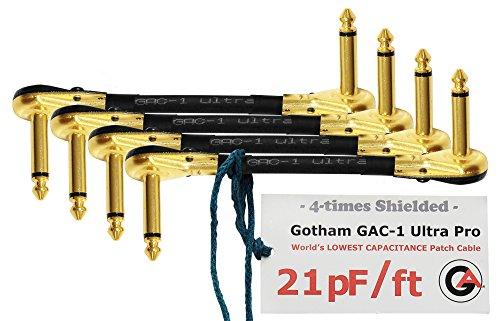 4Einheiten–Gotham gac-1Ultra Pro–12,7cm (12cm)–low-cap (21PF/FT) Gitarre Bass Effekte Instrument, S-förmige Patch Kabel mit vergoldeten, Low-Profile, Pancake Typ TS (6,35mm) Anschlüsse
