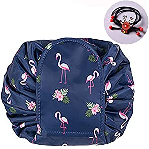 TOPSEFU Lazy Cosmetic Bag, Large Capacity Makeup Bag Toiletry Bag Quick Makeup Case Pouch Jewelry Organizer Multifunction Storage Quick Pick Up Dark Blue Bird