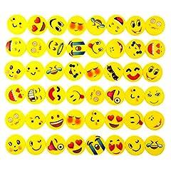 Idea Regalo - JZK 48 Emoji emoticon gomma cancellare matita set regalino bomboniera per festa bambini compleanno battesimo Natale regalo per bambina bambino