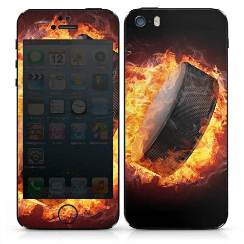 Apple iPhone SE Case Skin Sticker aus Vinyl-Folie Aufkleber Eishockey Flammen Slapshot DesignSkins® glänzend