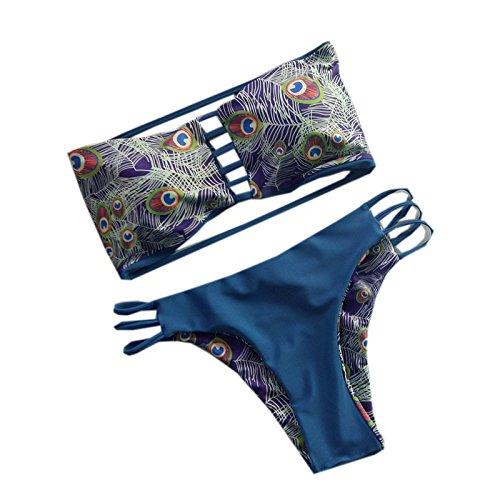 Generisch Europäische Feder Doppel split zweiteiligen Bikini bikinis S