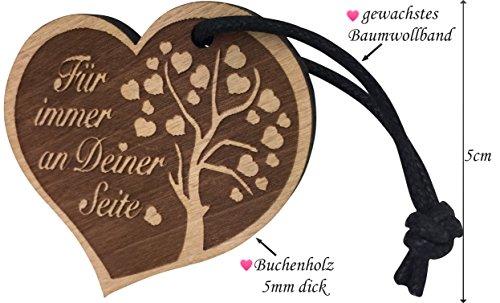 """endlosschenken Schlüsselanhänger Gravur Herz aus Holz """"Für immer an Deiner Seite"""" Geschenk"""