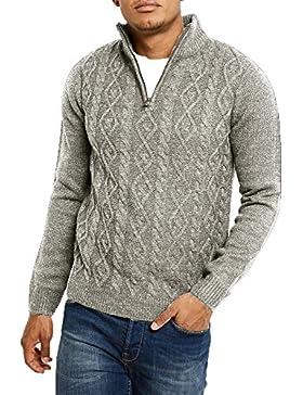 Hombres Threadbare 1/4 Zip Cuello Saltador Punto de cable Suéter Parte superior Pullover Suave FURROW