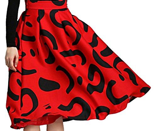 URqueen Women's Retro Printed Below the Knee High Waist Midi Skirt Rosso