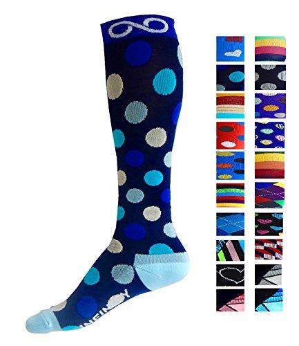 Infinity - Par de calcetines de compresión para hombre y para mujer, la mejor opción para correr, para enfermeros, para las espinillas, para viajar, para esquí y para embarazo, aumenta la resistencia atlética y la recuperación - - S/M