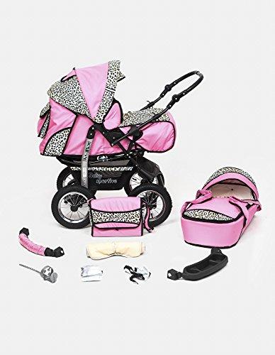 Kombi Kinderwagen Travel System Kamel 2in1 rosa-leopard Kinderwagen Buggy Stroller Poussette