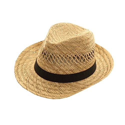 Wrapeezy Strohhut mit schwarzem Hutband, Modell für Damen & Herren, erhältlich in Gr. S, M & L - 57cm Small