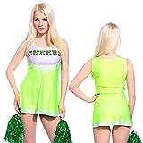 Anladia - Disfraz de animadora Cheerleader para adulta Mujer Mini Vestido sin Mangas con Letras ¨CHEERS¨ Color Lima Talla 40 42 (L (42))