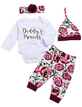 chicolife Baby Mädchen Blumen Outfit Set Buchstaben gedruckt Langarm Strampler mit Blume Stirnband Hut 4Pcs
