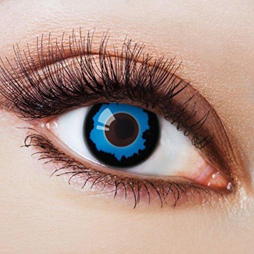 Farbige Kontaktlinsen Blau Ohne Stärke Blaue Jahreslinsen Weiche Motiv-Linsen Farbig Halloween Karneval Fasching Cosplay Kostüm Dark Blue Vampir mit Rand Schwarz