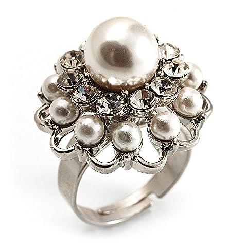 Bague Forme Dôme Cristal Fausse Perle Blanc (Ton Argent)