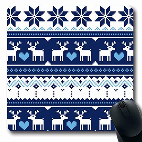 Luancrop Mauspads für Computer Fancywork Blue Nordic Scandynavian Strickmuster Deer Vintage Season Navy Herz Norwegen Rentier rutschfeste längliche Gaming-Mausunterlage -