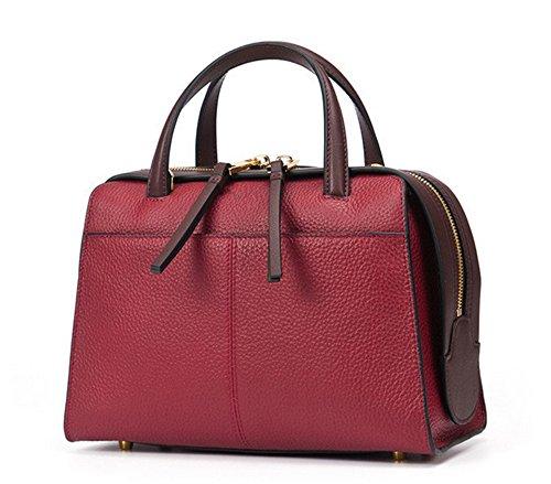 Sacs à main pour femme Xinmaoyuan Printemps Sacs à main en cuir Section verticale de couleur pure Sac Boston red