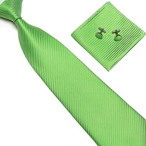 Streifenkrawatte Set Streifen Krawatte Einstecktuch Knöpfe Manschetten Hochzeit (Grün)