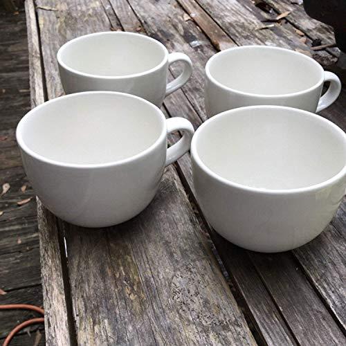 Große Grand Keramik weiß Tassen für Cappuccino, Kaffee, Latte, Müsli, Eis, etc, Weiß, 4Stück, Klauenhammer