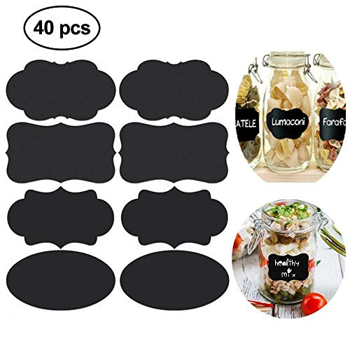 EUYOUZI Chalkboard Labels Stickers, 40Pcs Reusable & Removable Blackboard Labels for Mason Jars, Glass, Cups, Bottles, Decorate Your Home & Office Oval Jar
