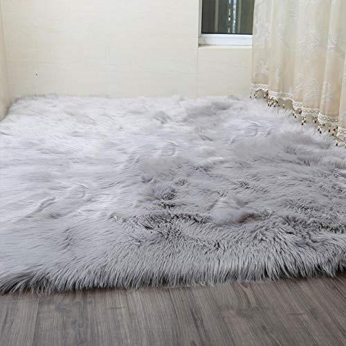 DEI QI 80x150 cm Shaggy Teppich Für Wohnzimmer Hause Warme Plüsch Boden Teppiche flauschigen Matten Kinderzimmer Bereich Teppich Wohnzimmer Matten (Farbe : Grau) (Grün-teppich-sets, Wohnzimmer)