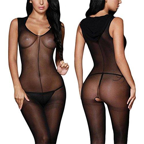 BOOMLEMON-Womens-Seamless-Hooded-Bodystocking-Open-Crotch-Fishnet-Lingerie-Bodysuit-Black