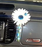 Auto Vase–weiß Baby Blau Bling Daisy mit Universal Vase