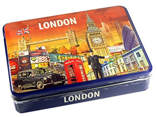 250g of Cookies with Chocolate and Milk Chocolate in London Collage Design Tin