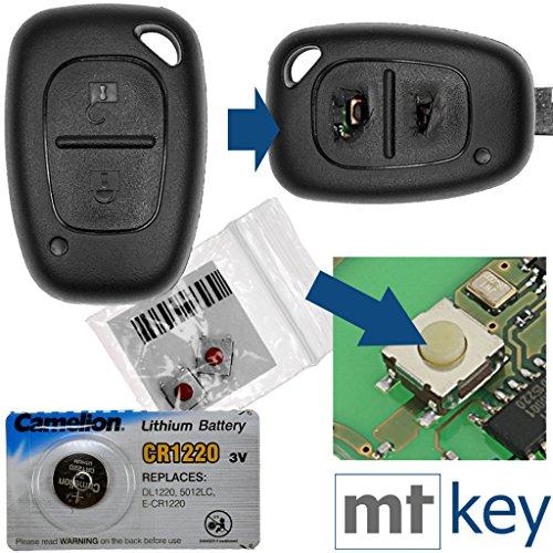 Auto chiave telecomando 1X Alloggiamento 2tasti + 2X mikrotaster + 1X CR1220batteria per Renault/Opel/Niss