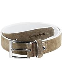 Mens leather belt / Mens belt Pierre Cardin, beige, 35 mm