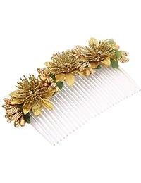 Sanjog Girl's Flower Comb Clip (VS101983_Golden and White_Free Size)