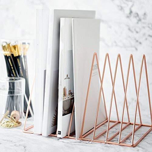 Desktop Organisator Ablageleiste, Dokument Briefhalter Dreieck Metall Für Schreibtisch Arbeitszimmer-Rotgold