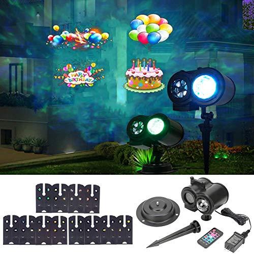 LLQ Projektorlampe mit Fernbedienung und 12 Dias Muster, 2 in 1 Außen-/Innendekoration, Beleuchtung für Weihnachten, Halloween, Geburtstagsparty