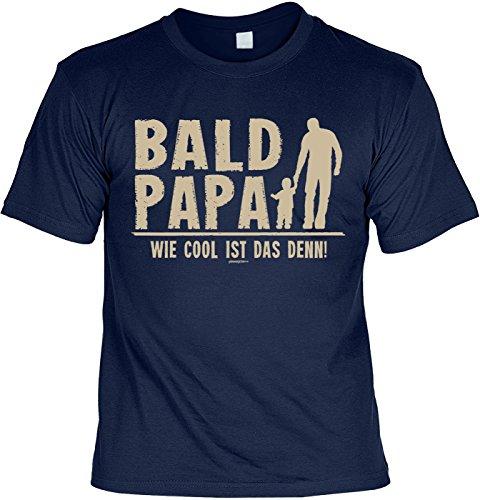 Fun T-Shirt zum Vatertag: Bald Papa. Wie cool ist das denn! - Geschenk, Geburtstag, Vatertagsausflug - navyblau Navyblau