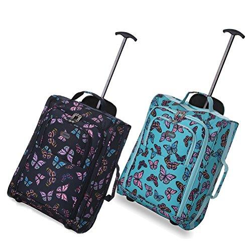Set von 2 Leichtgewicht Handgepäck Kabinengepäck Flugtasche Koffer Trolley Gepäck Schmetterlinge MINZE + MARINE