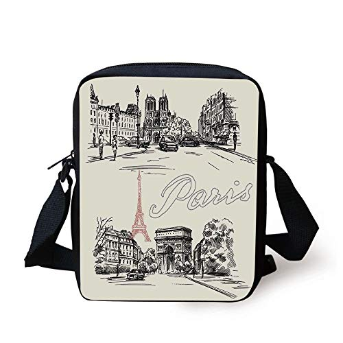 Paris Decor,Arch of Triumph Restaurant Monument Old Fashioned Paris Street Sketch Style Art, Print Kids Crossbody Messenger Bag Purse Olive Garden Restaurant