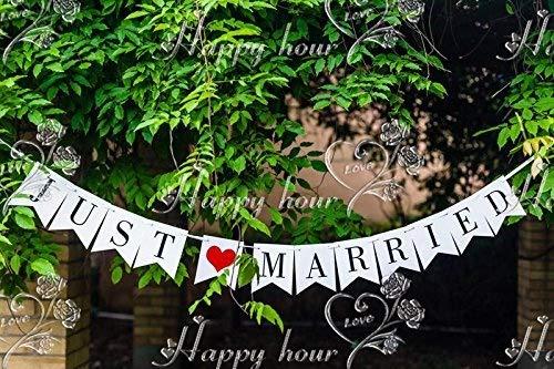 """Musuntas Girlande Vintage / Rustikal """"Just Married"""", - als Deko zur Hochzeit mit schwarzem Schriftzug"""