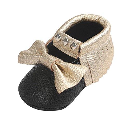 BZLine® Unisexe Bébé Bowknot Chaussures en Coton | Semelle Plate en Tissu | Frange Rivet Chaussures Souples Or1