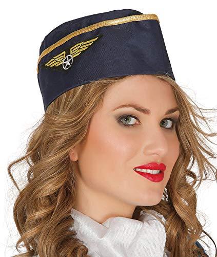 Fancy Me Damen Air Hostess Cabin Crew Pilot Junggesellinnenabschied, Party-Uniform, Job, Beruf, Kostüm, Outfit (Air Hostess Kostüm Hut)