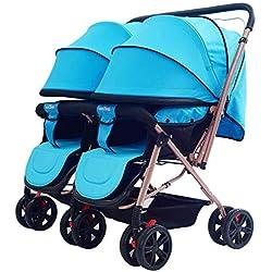 Twin stroller zxmpfg El Cochecito de bebé Doble, el Cochecito Plegable Plegable de Viaje bidireccional de Lado a Lado, se Puede Usar para reclinarse Cuatro Temporadas Disponibles Cesta Grande