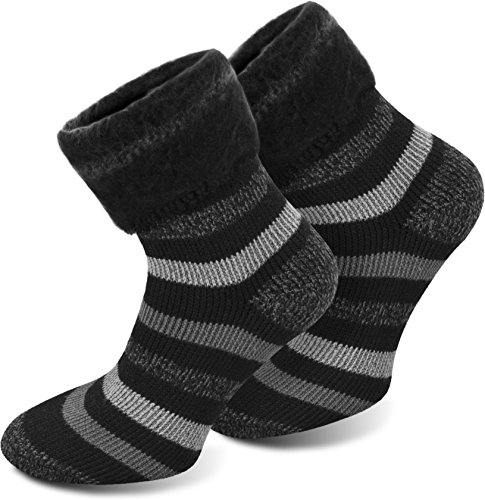 Polar Husky® 3 Paar Sehr warme Socken mit Vollplüsch und Schafwolle/Nie Wieder kalte Füße! Farbe Extrem/Hot/Schwarz gestreift Größe 47-50
