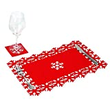 8 x Simpa® Christmas Snowflake Red Felt Table Place Mat & Coaster Sets.