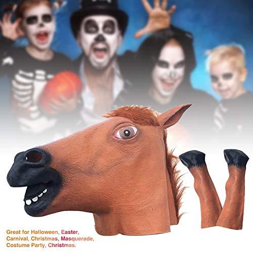 boastvi Braunes Pferd Maske, Pferdekopf Maske, Latex Tier Maske, Neuheit Halloween Kostüme Reiter Maske Party Requisiten Für Erwachsene Latex Baby Maske
